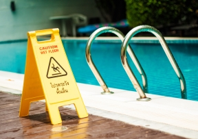 Caution Sign by Pool